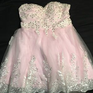 Dresses & Skirts - Pink and Lace Cocktail Dress