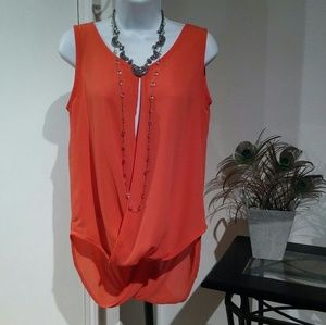 Coral Sheer Sleeveless Blouse