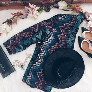 Vintage 70s Woven Ethnic Kimono Jacket M
