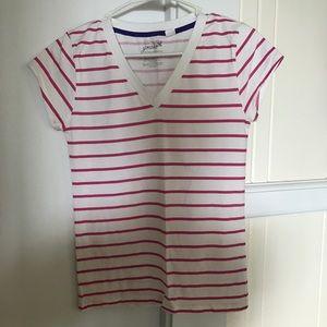 🦄Grane Large Pink & White Striped V-Neck NWOT
