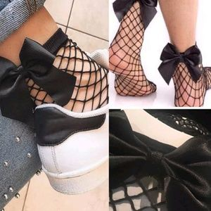 🆕Black Fishnet Socks with Black Bow❕