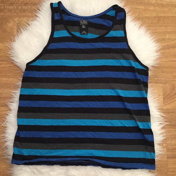 Point Zero Other - Men's Striped Muscle Tank Blue