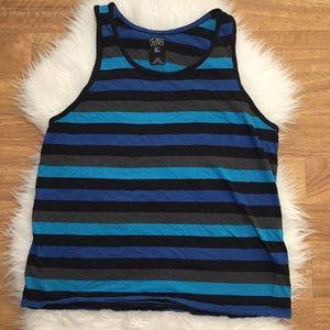 Point Zero Shirts - Men's Striped Muscle Tank Blue