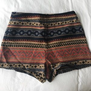 High-waisted Aztec cotton shorts