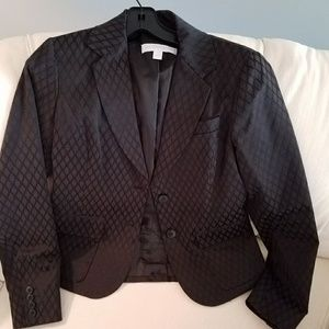 New york and co black blazer with texture design