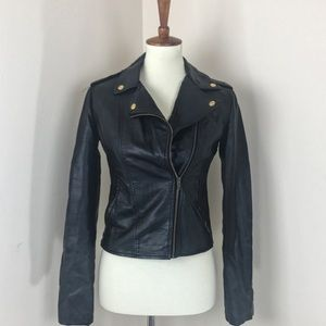 Obey vegan leather motorcycle jacket XS