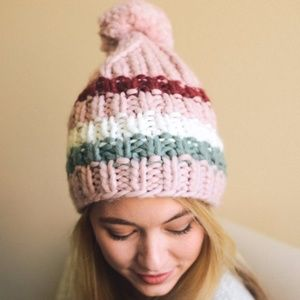 Accessories - ***NEW***Brooklyn Striped Pom Pom Beanie --Pink
