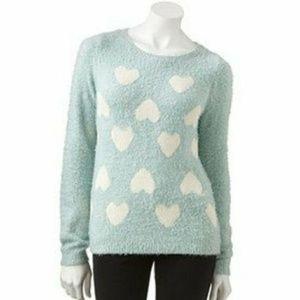 NWT Lauren Conrad Blue Fuzzy Heart Sweater
