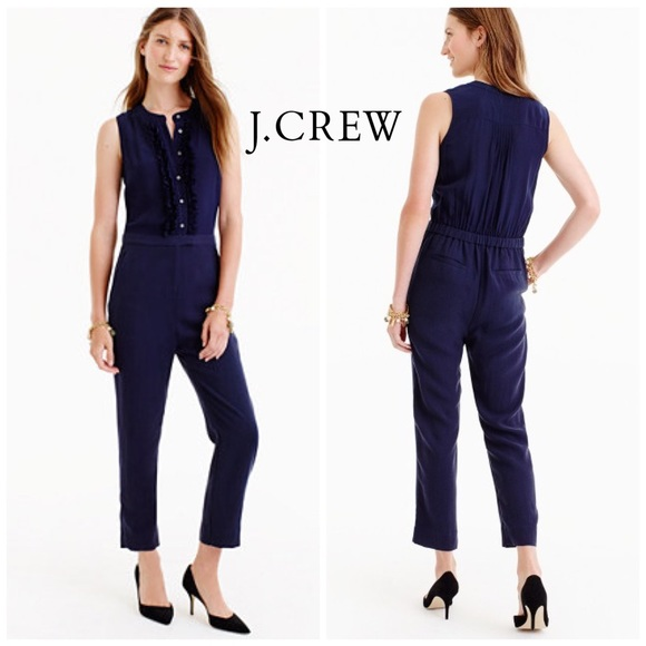 34e9b67cea9a J Crew Silk Navy Ruffle front Jumpsuit