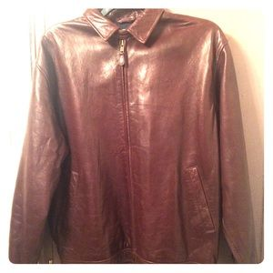 Ralph Lauren Polo brown leather jacket men's