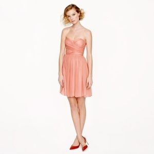 J. Crew strapless dress in coral silk chiffon