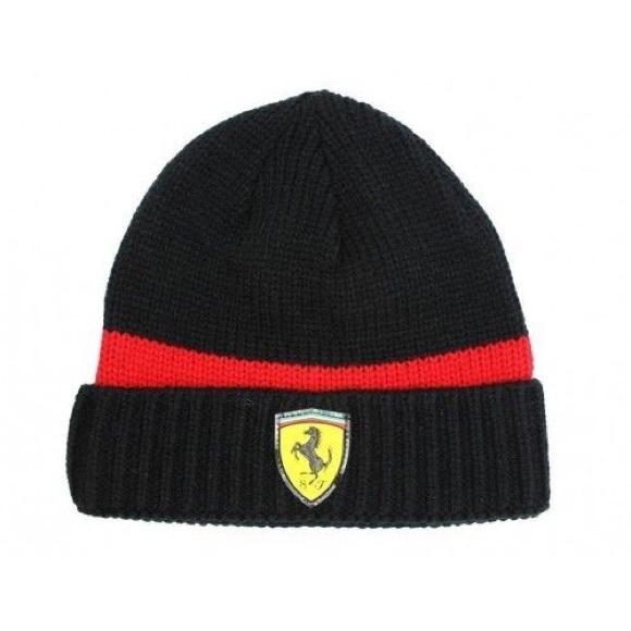 a2e97040a3a PUMA Ferrari Black and Red Knit Beanie Hat