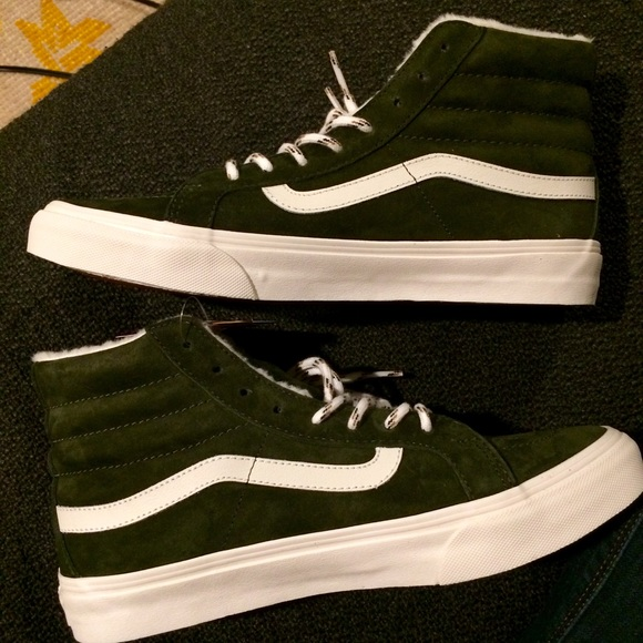 533b016c43 Vans Sk8 Hi Top Slim Dark Green Suede