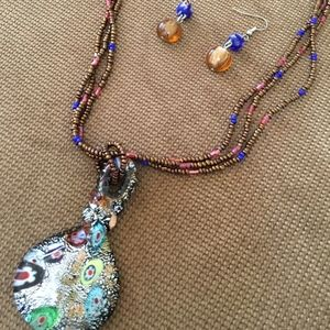 Jewelry - Multi-color Decorative Necklace and Earrings Set