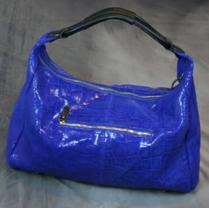 Lola Bernard hobo bag: leather, blue, croc pattern