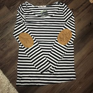 Tops - SUNDAY SALE 🌻 Striped Top with Elbow Patches