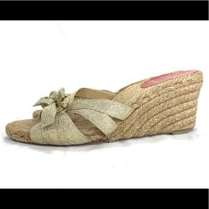 Christian Louboutin Espadrille Gold Bow Wedges