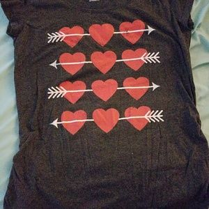 Tops - Charcoal maternity tee with hearts