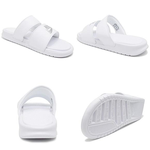 3096e01d44140 Nike Benassi Duo Ultra Slide White Metallic Silver