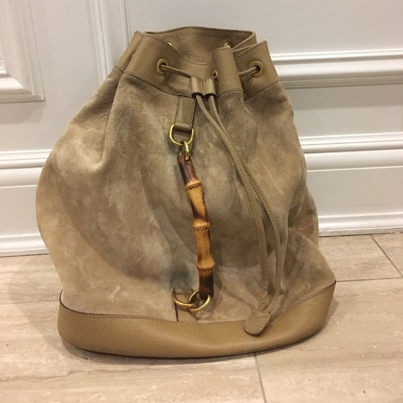 d053ebad024 Gucci Handbags - FINAL SALE- Gucci Bamboo Backpack in Tan Suede