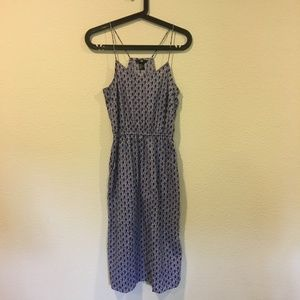 H&M blue printed midi dress