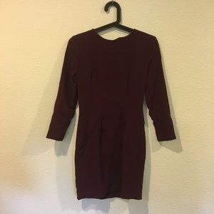 Forever 21 maroon long sleeve dress