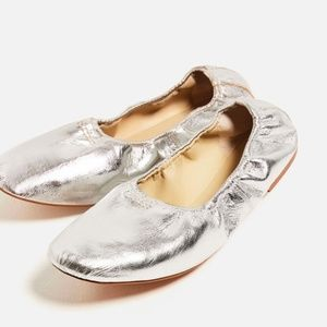 Zara Basic Silver Leather Ballet Flats, Never Worn