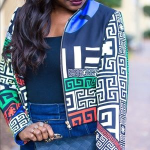 Jackets & Blazers - Geometric Crop Bomber Jacket