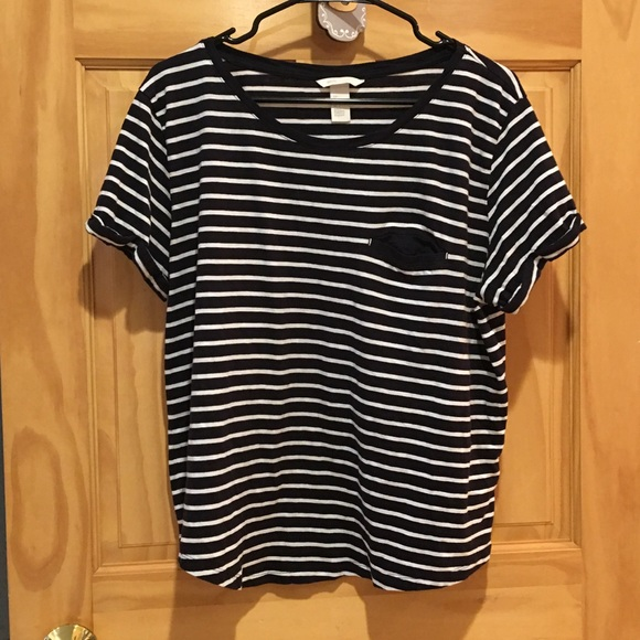 448e1a81e44cc H M Tops - Women s H M Striped Basic Tee Large