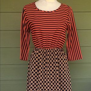 Dresses & Skirts - Coral / Navy Stripes & Leopard Dress