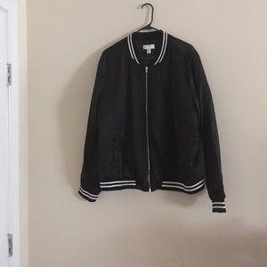 (Plus Size) black padded jacket w/ varsity stripes