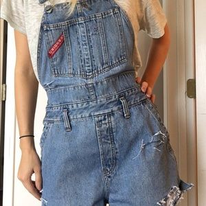 Denim - Light wash distressed Jean overalls