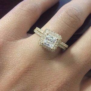 Princess Cut Engagement Bridal Ring band 2pc set