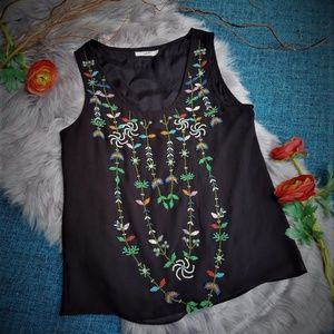 Tops - Vintage Black Embellished Blouse