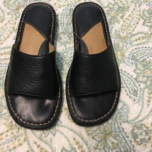Born black leather sandals