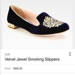 b12fc8a4ef57 Miu Miu Shoes - MIU MIU blue velvet jeweled heel smoking slipper