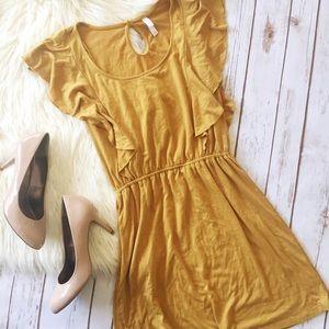 Xhilaration mustard yellow ruffle dress