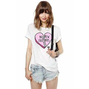 Pink Broken Candy Heart No New Friends TShirt NEW