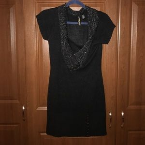 new short sleeve sweater dress silver threaded