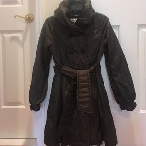 Belted Flared Winter Trench Coat Deep Olive