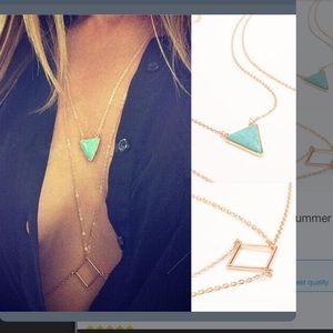 New w tags Gold & turquoise bikini / bra necklace