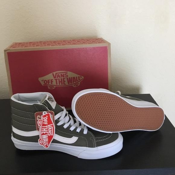 146e77c819 Vans Suede Canvas Olive Green New Sk8 Hi
