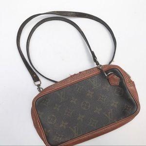 LOUIS VUITTON crossbody bag logo brown small purse