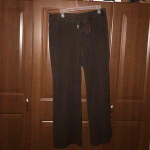 Brown pin striped professional slacks.