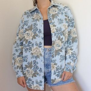 Vintage Floral Button Up Top