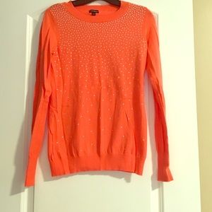 Coral crewneck sweater with silver studs