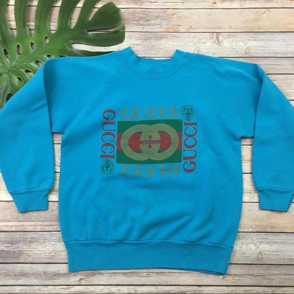 79ef8939 Gucci Tops | Vintage Bootleg Blue Pullover Sweatshirt | Poshmark