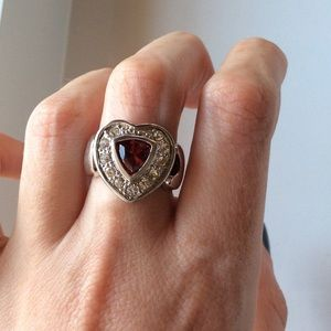 Jewelry - Heart crystal cocktail ring with 925 stamp!