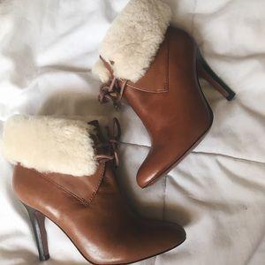 Malia Leather Coach Sheep Fur Ankle Boots