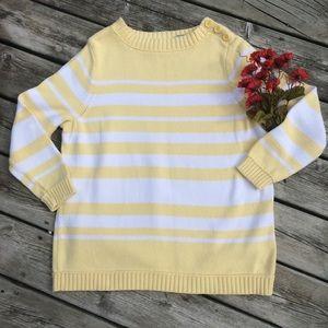 Liz Claiborne Yellow & White Crew Neck Sweater